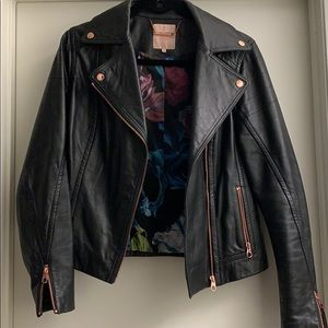 Ted Baker Leather Jacket - with Rose Gold & Floral